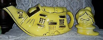 Vintage, Lingard, Old Lady in a Shoe, yellow Teapot.