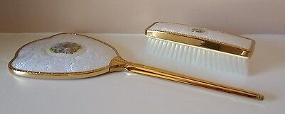 Vintage Vanity Dressing Table Set - Mirror & Clothes Brush