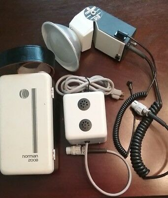Vintage Norman 200B w/LH3 Lamphhead, Battery Pack, Charger, Cables, Orig.Manuals