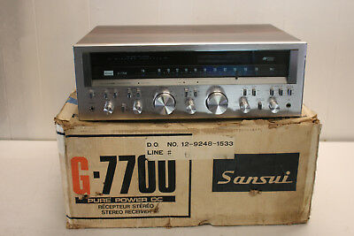 vintage silver face SANSUI G-7700 AM-FM STEREO RECEIVER +original box ~NICE ONE~