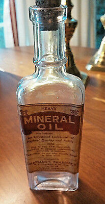 Antique Pharmacy Medicine Bottle MINERAL OIL CHAPMAN'S PHARMACY FAIRLEE, VERMONT