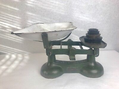 Antique Green Cast Iron Balance Scale 28 Lb With 4 Weights Produce General Store