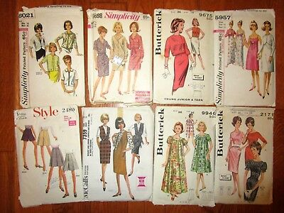 Vintage Lot 8 Sewing Patterns 1950s-1960s Ladies Dress Blouse Muu Muu Culotte 16