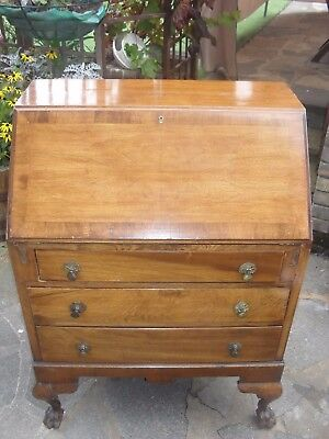 Vintage wooden Writing Bureau Desk with claw feet romford collection