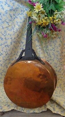 Primitive Antique Copper  Pan Skillet 10 inch Cast Iron Handle 21 inches overall