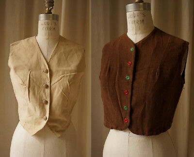 Lot 2 brushed cotton vests 1940s and 1970s medium COSTUME idea