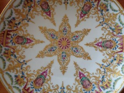 Hand Gilded & Painted Porcelain Painting Royal Vienna Style Plaque Plate