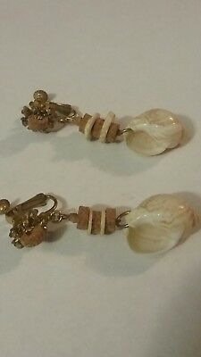 Vintage MIRIAM HASKELL Double Signed CORK & SHELL Screwback Clip Earrings