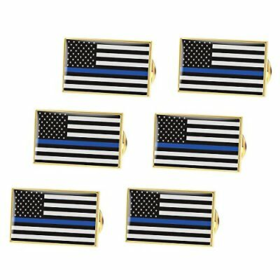 BESTOMZ Thin Blue Line American Flag Pin Police Lapel Pin Pack of 6