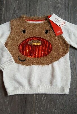 GIRLS F&F CHRISTMAS JUMPER AGE 3-4 Years NEW,REINDEER,WINTER,GLITTER,PARTY