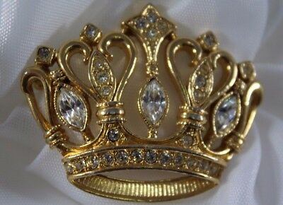 Vintage Brooch Pin signed KJL  AVON Gold Tone Kings Crown Rhinestones GORGEOUS