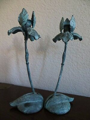 "Vintage 1960's Lot of 2 Brass/Green Patina "" Iris Candle Holders 11"" inches tall"