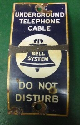 VINTAGE BELL SYSTEM UNDERGROUND TELEPHONE CABLE PORCELAIN 7x3.5 SIGN  curved