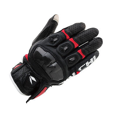 Red+ Black  L NRS Taichi RST410 Mens Perforated leather Motorcycle Mesh Gloves