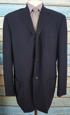 Samuelsohn  Size 44L Wool 3 Button Extra Light Black Mens Blazer