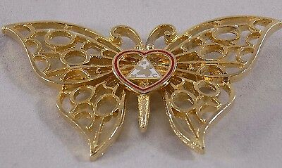 Vintage Brooch Gold Tone Butterfly Triangle with Moose & Letters FHC Hefty