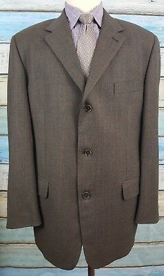 Tommy Hilfiger 44R Wool 3 Button Single Breasted brown Checkered Mens Sport Coat