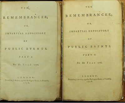 THE REMEMBRANCER 1776 1ST British Printing of DECLARATION OF INDEPENDENCE 1STNR