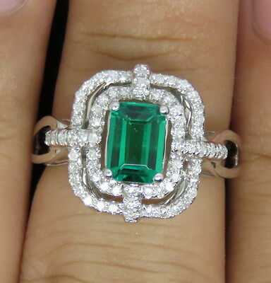 Natural Green Emerald Diamonds Engagement Ring Solid 14K White Gold