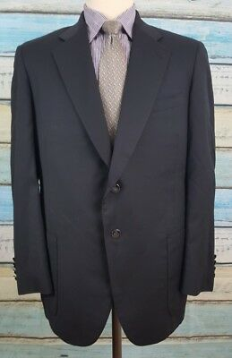 Samuelsohn  Size 42R Wool 2 Button Black Mens Blazer With Metal Buttons
