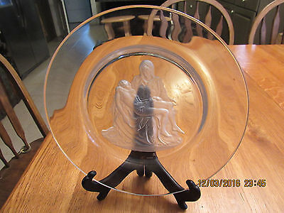 """Beautiful Mary,mother Of Jesus And Jesus 9 3/4"""" Etched Plate With Stand"""