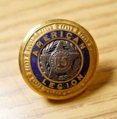 Vintage AMERICAN LEGION Brass Star Blue Enamel Button Pat 1919 Waterbury WB #6