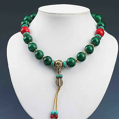 Old Tibet Malachite &  Red Coral Handwork Rosary Type Necklaces  G936