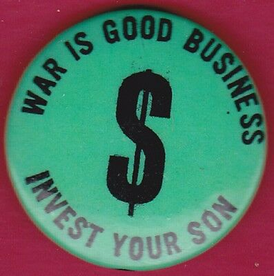 1960's INVEST YOUR SON VIETNAM Hippie Headshop Protest Pinback Button Political