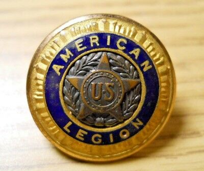 Vintage AMERICAN LEGION Brass Star Blue Enamel Button Pat 54296 '35 Waterbury #7