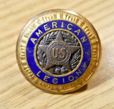 Vintage AMERICAN LEGION Brass Star Blue Enamel Button Pat 54296 '35 Waterbury #8