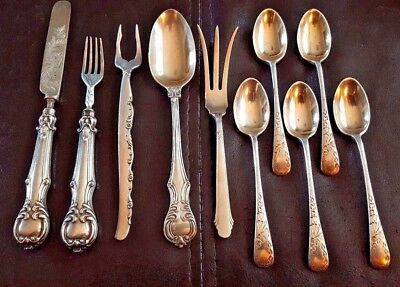 STERLING SILVER flatware lot - 10 assorted small pieces 205 g. in weight