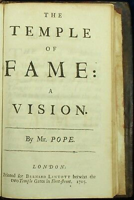 Alexander Pope THE TEMPLE OF FAME 1715 8vo Chaucer Urry 1ST EDITION NO RESERVE