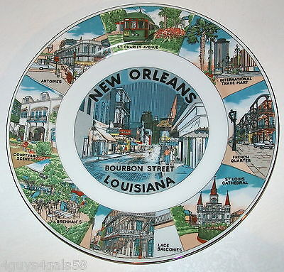 Collector Plate NEW ORLEANS LOUISIANA French Quarter BOURBON STREET Brennan's