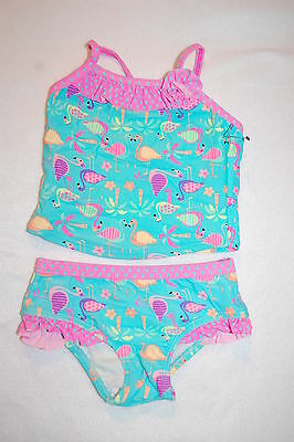 Baby Girls 2 PC TANKINI SET Swimsuit TURQUOISE HOT PINK FLAMINGOS Ruffles 12 MO
