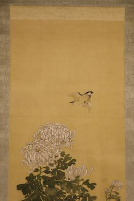 """JAPANESE HANGING SCROLL ART Painting """"Bird and Flower"""" Asian antique  #E8152"""