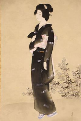 """JAPANESE HANGING SCROLL ART Painting """"Beauty"""" Asian antique  #E8142"""