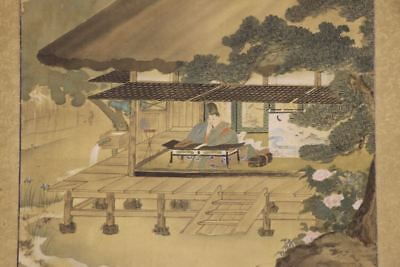 JAPANESE HANGING SCROLL ART Painting  Asian antique  #E8143