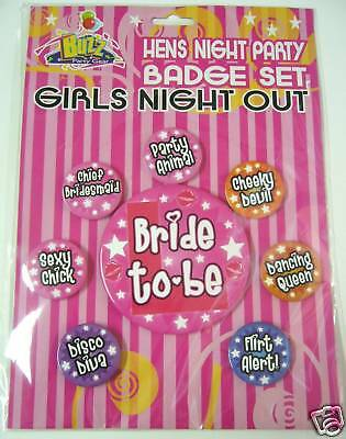Bride To Be ~~ Hens Night Party Badge Set ~~ Free Postage