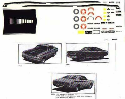 Fred Cady Decal #289 To Do The  1972 Plymouth Duster 340