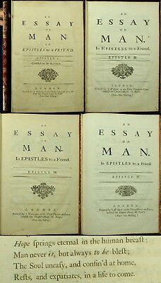 Alexander Pope AN ESSAY ON MAN 1733 - 34 4Parts 1ST EDITIONS 1ST ISSUES Folio NR