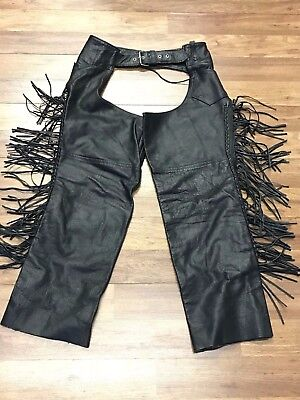 Mens Vtg Hot Leathers Fringed Motorcycle Leather Chaps M