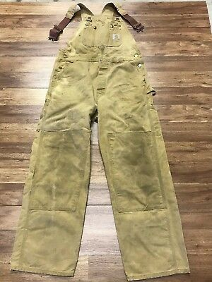 Distressed Vtg Carhartt Duck Double Knee Donut Fly Overall Bib 34 x 30 USA