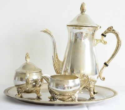 Silver Plated Coffee Set - Coffeepot, Creamer & Sugar Bowl on Tray - 4 pieces