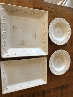4 X Vintage Shabby Chic French Provincial Platters & Bowls Can Pick Up Melbourne