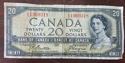 "Rare 20 Canadian  ""Devil Face"" Dollar bill good condition"