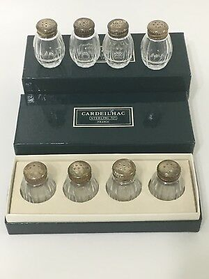 Cardeilhac Christofle Sterling Silver Top Glass Mini Salt & Pepper Shakers