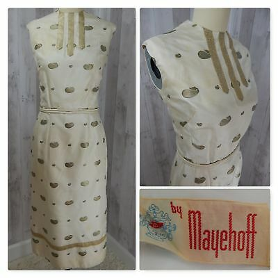 1960s True Vintage DRESS~Ivory/Gold FITTED PINUP ROCKABILLY WIGGLE 39-29-40