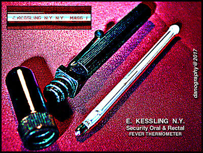 E. KESSLING SECURITY ORAL / RECTAL Fever Thermometer with Pocket Bakelite Case