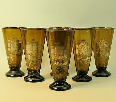 A Classic Set Of Six Art Deco Amber Glass Silvered Galleon Design Glasses C.1930