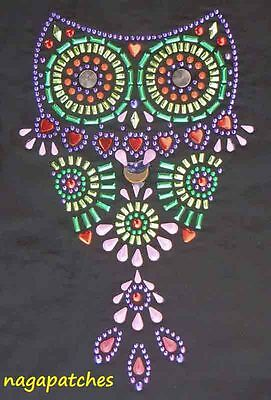 Pattern print Transfer rhinestone and beads fusible Owl Owl